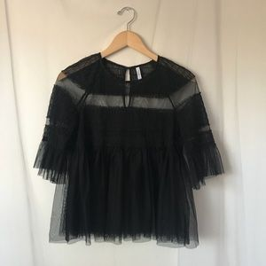 Sheer Ruched Blouse
